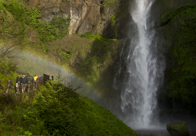 Multnomah Falls hiker & rainbow