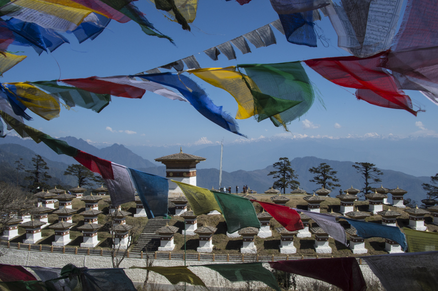 Dochu La pass overlooking Himalayas & Gnagkar Puensum, the highest unclimbed mountain in the world (22,600 feet), Bhutan