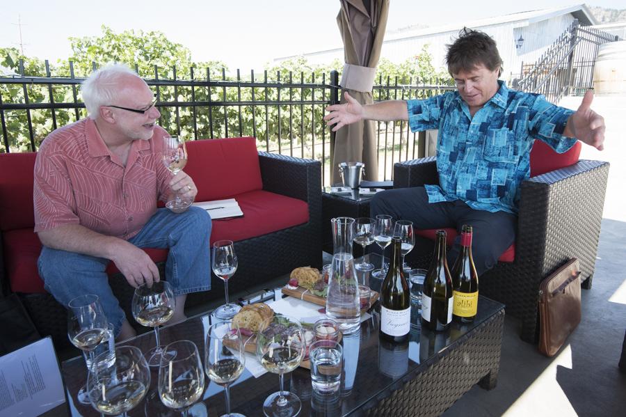 Cole Danehower winetasting with owner Glenn Fawcett of  Black Hills Estate, Okanagan, British Columbia, Canada