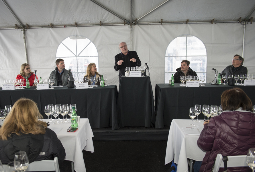 Cole Danehower moderates the technical panel at the third annual Oregon Chardonnay Symposium on March 14, 2014 at Stoller Family Estate in Dayton, Oregon