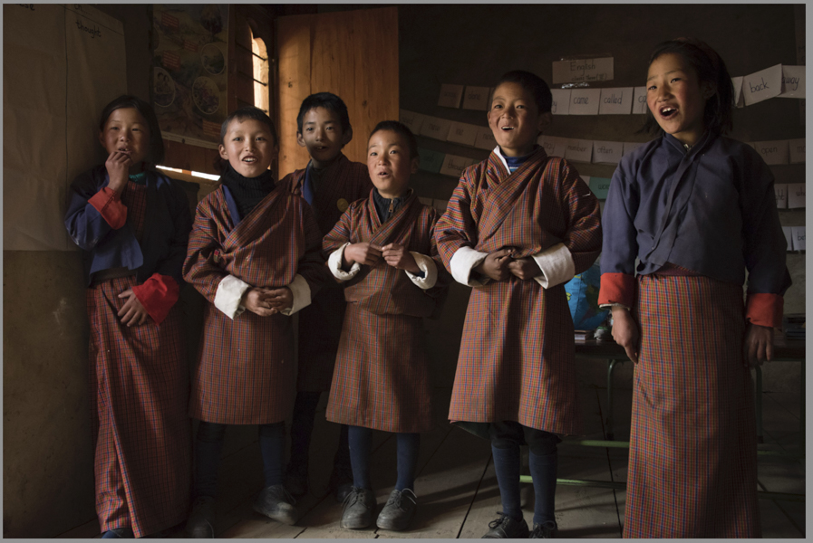 School children sing us a song near Jomolhari Base Camp - most walk 1 hour to school each way over 1,000 feet elevation — at Jomolhari, Bhutan.