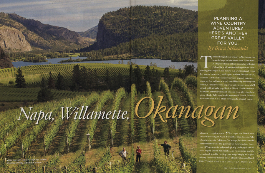 Opening spread in VIA magazine for Okanagan wine country, Canada