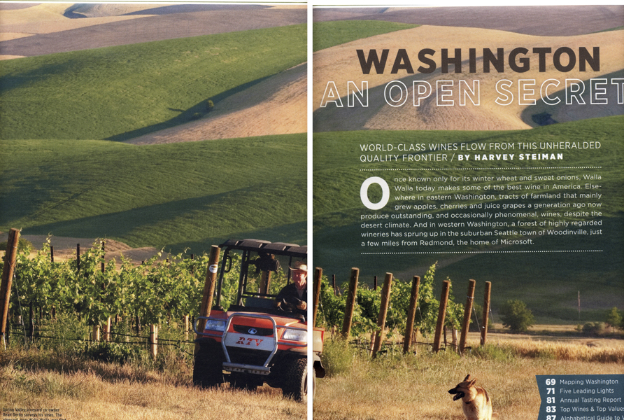 Opening spread in Wine Spectator Magazine for Washington wine feature.