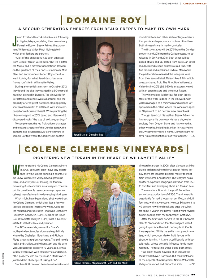 Wine Spectator Oregon Feature photos 2016, Domaine Roy & Colene Clemens