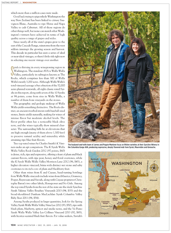 Wine Spectator Washington feature - Syncline Winery