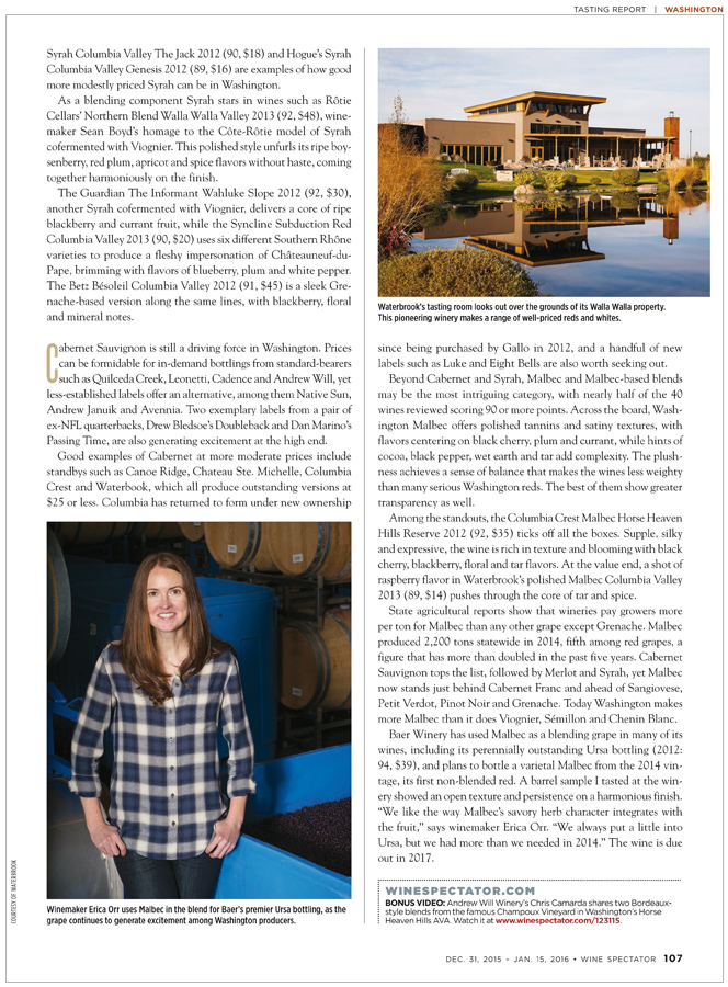Wine Spectator Washington feature - Erica Orr, Baer Winery