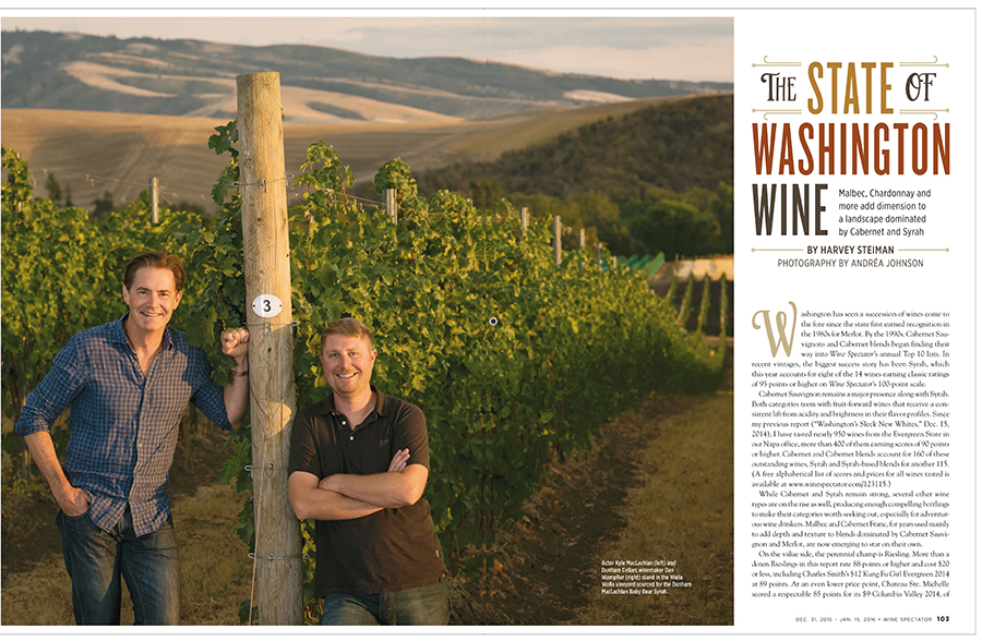 Wine Spectator Washington feature - Kyle MacLachlan, Pursued by Bear