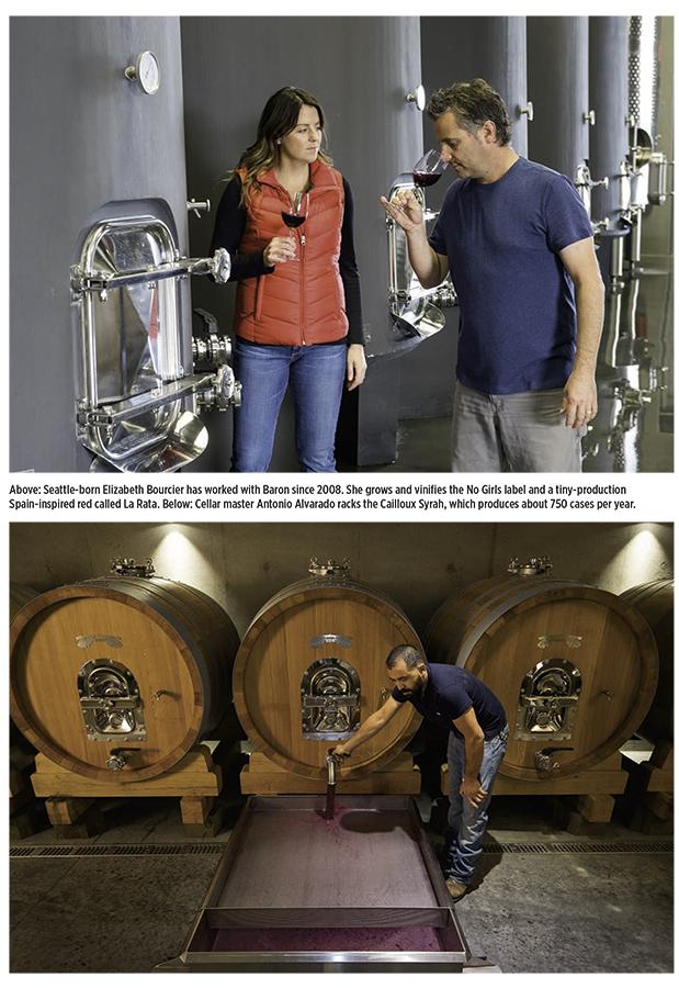 Elizabeth Bouncier (Assistant Vigneronne) and Christophe Baron tasting wine from fermentation tanks & Cellar master Antonio Alvarado racking syrah.
