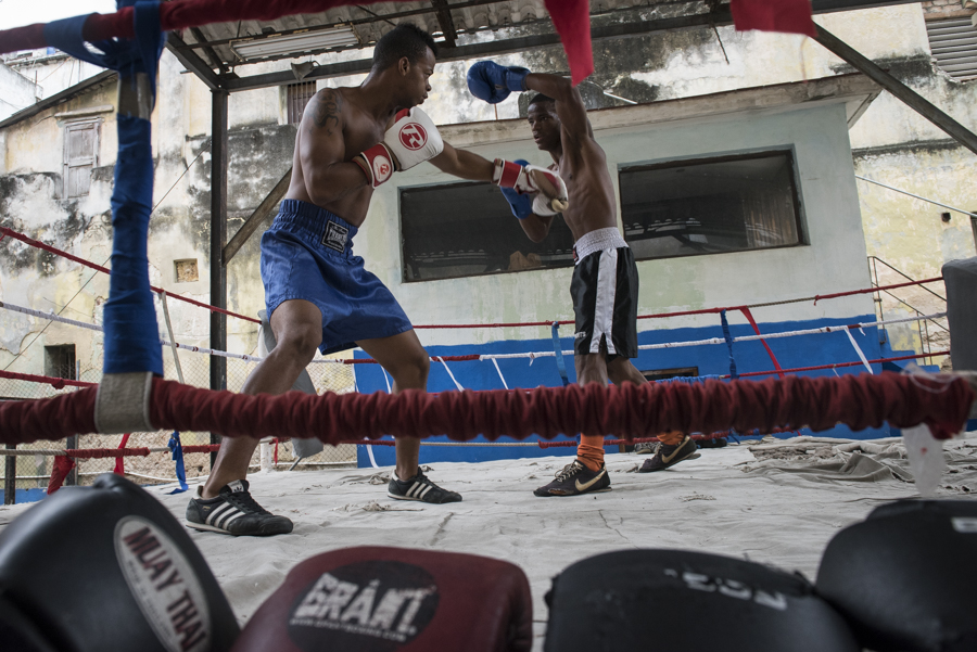 Boxers train at Rafael Trejo Boxing Gym (Rafael Trejo Gimnasio al Aire Libre), an open air ring with stadium seating in old Havana, lead by Cuban Olympic coach Nardo Mestre Florez.  Boxing is perhaps the second most popular sport in Cuba, behind baseball.