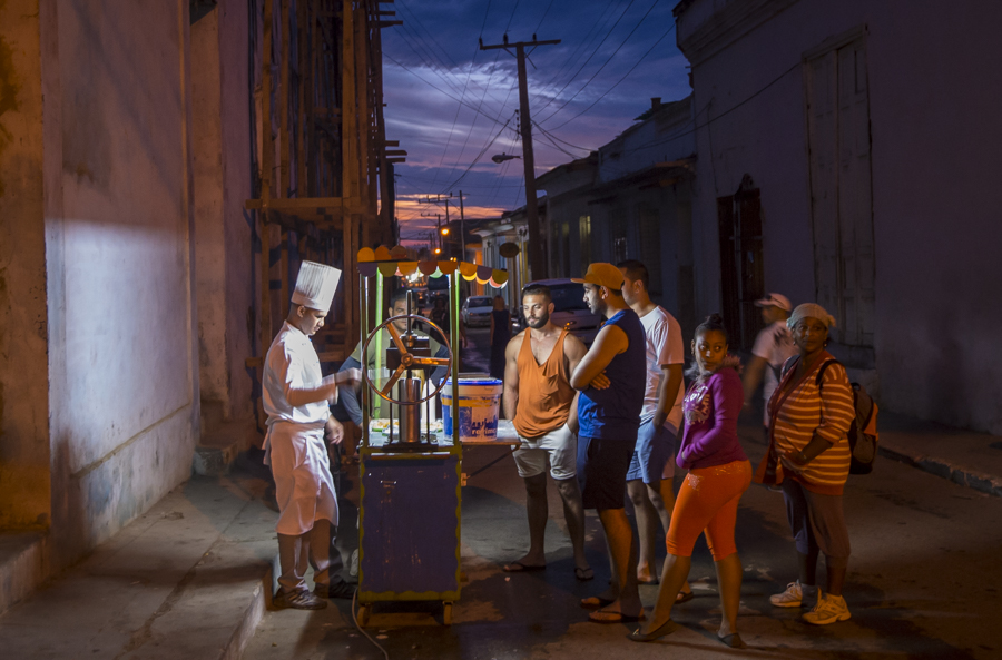 Street food snacks at dusk, Trinidad