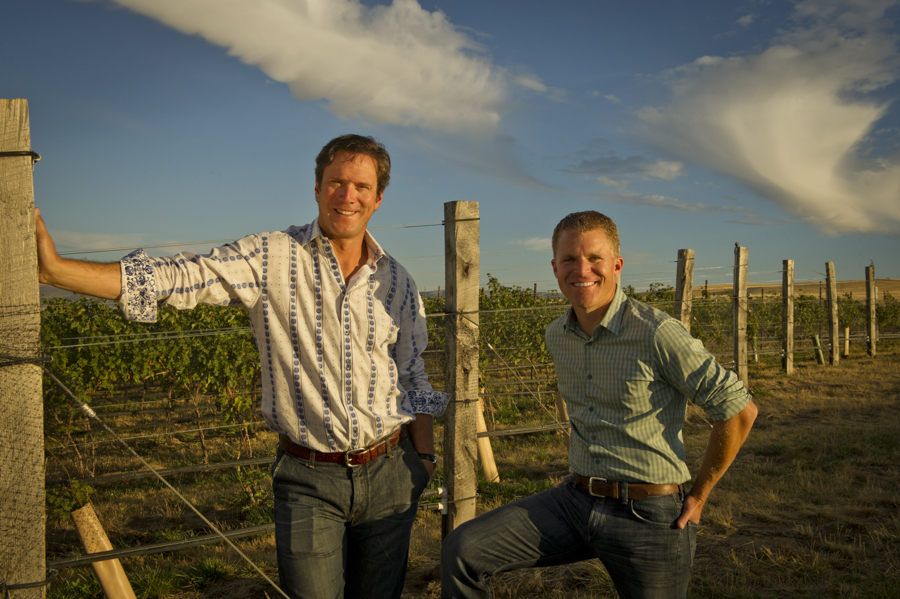 Drew Bledsoe with Doubleback winemaker Chris Figgins for Wine Spectator Magazine