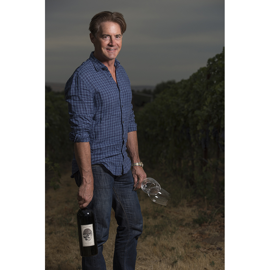 Kyle MacLachlan with Pursued by Bear winemaker Dan Wampfler in Walla Walla for Wine Spectator