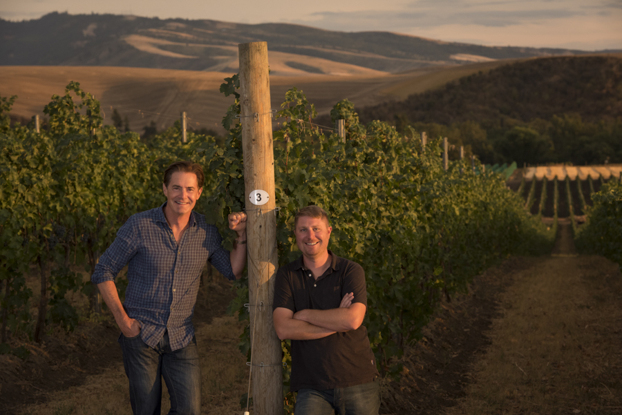 Kyle MacLachlan with Pursued by Bear winemaker Dan Wampfler for Wine Spectator