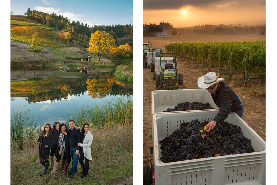 Momtazi family at their Maysara vineyard & vineyard manager Robert Schultz of Stoller Family Estates