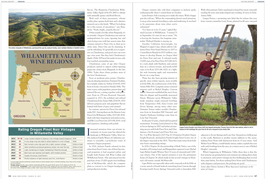 Willakenzie Estate & Lingua Franca -page 5-6 of Wine Spectator Magazine's Oregon Wine Feature story, March 31, 2017