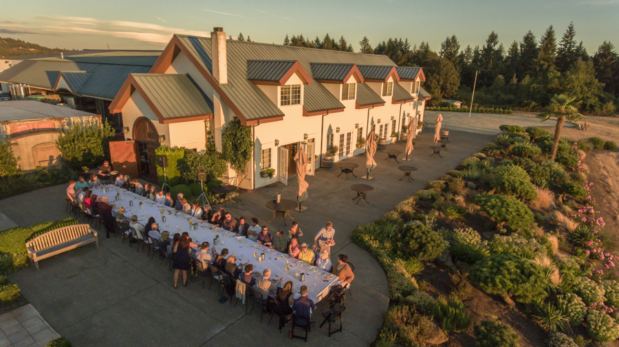 Drone photo over winemaker dinner at Anne Amie winery.