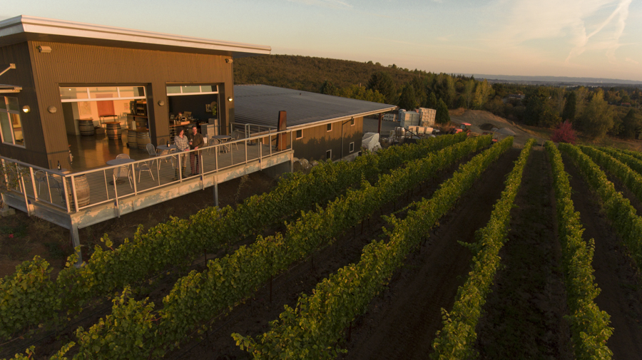 Drone shot over Raptor Ridge winery tasting room