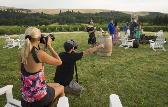 Dane Henry & Andréa Johnson shooting the lifestyle finale at Figgins Family Vineyard