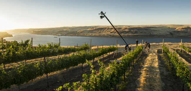 30 foot jib with camera mounted on movi m5 for smooth 360 motion reveals views of Columbia River gorge and vineyards at Maryhill winery